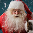 Stock Photo: SantClaus running outdoors at North Pole