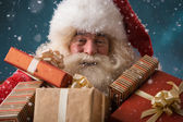 Santa Claus with his sack of presents — Stock Photo