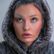 Girl with frost on face — Foto Stock
