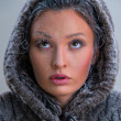 Girl with frost on face — Stockfoto