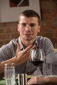 Man having fun at restaurant — Foto Stock