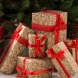Gift boxes under Christmas tree — Stock fotografie