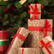 Gift boxes under Christmas tree — Stok Fotoğraf #35208077