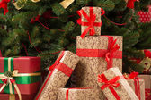 Gift boxes under Christmas tree — Stock Photo