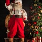 Real Santa Claus carrying big bag full of gifts — Stock Photo #36520491
