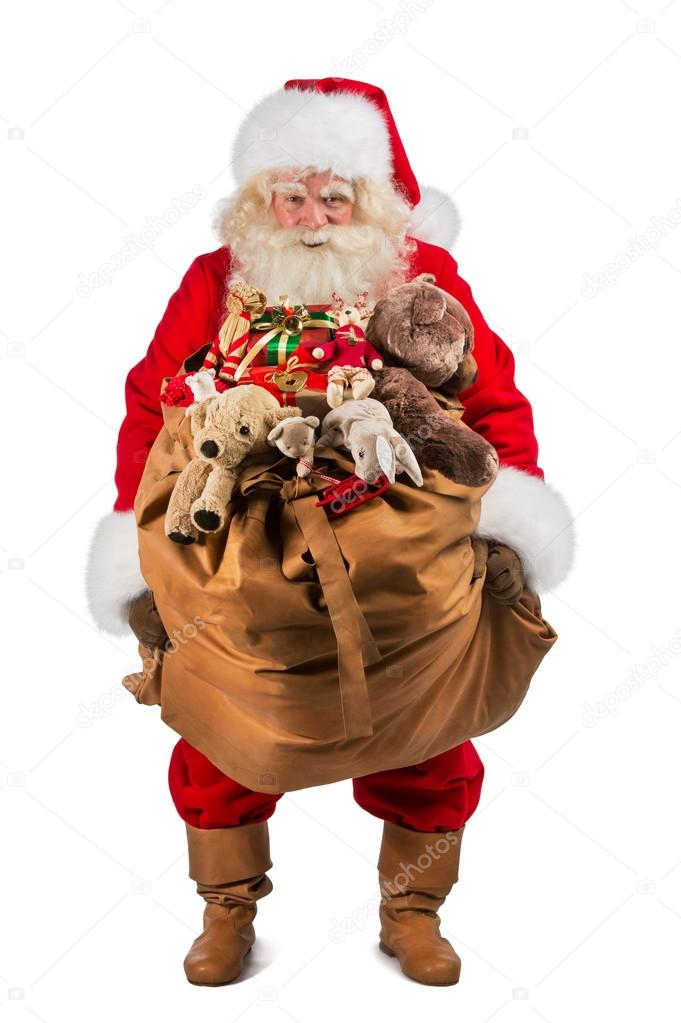 full length of real santa claus carrying big bag full of gifts stock photo hasloo 36520079. Black Bedroom Furniture Sets. Home Design Ideas