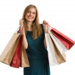 Shopping woman holding shopping bags looking up — Stock Photo #37353631