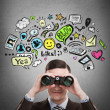 Stock Photo: Online life concept. Business mlooking through binoculars.