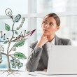 Concept of Growing company with sketch of a plant with business symbols and businesswoman working on laptop — Stock Photo #38643769