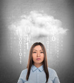 Young business woman or system administrator under cloud with digital rain. — Stock Photo