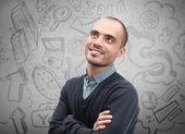 Unga företag man tänker på hans planer för närbild face porträtt — Stockfoto