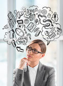 Young business woman thinking of her plans closeup face portrait — Stock Photo