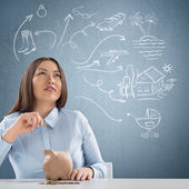 Smart business woman thinking. Sketches with her toughts overhead — Stock Photo