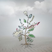Concept of Growing company with sketch of a tree with business symbols — Stock Photo