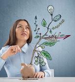 Conceito de crescimento da empresa com o esboço de uma planta com símbolos de negócios — Fotografia Stock