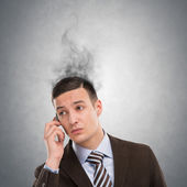 Concept of stress with businessman calling by phone — Stock Photo