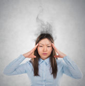 Concept of stress with businesswoman with reeky head — Stock Photo