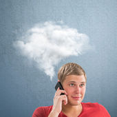 Man and a cloud of thoughts — Stock Photo