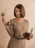 Woman talking retro phone — Stock Photo