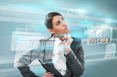 Woman over hightech background — Stock Photo