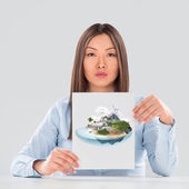 Businesswoman with ideal project — Stock fotografie