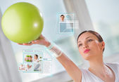 Woman doing exercise with ball — Stock Photo