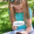 Stock Photo: Little girl exploring the cone through the magnifying glass outdoors