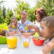 Family eating together outdoors at summer park or backyard — Stock Photo