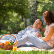 Adult couple picnicking in the summer park under the tree — Photo