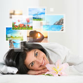 Woman with travel vacation memories — Foto Stock