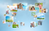 Travel and photo sharing technology background — Stock Photo