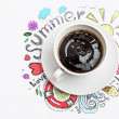 Cup of coffee summer vacation — Stock Photo #44550339