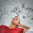 Man dreaming summer vacation — Stock Photo