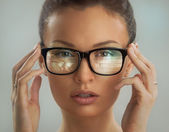 Woman glasses virtual interface built-in screen — Stock Photo