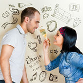 Couple renovating apartment  — Stock Photo