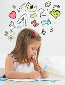 Little girl educating home — Stock Photo
