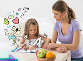 Little girl educating mother home — Stock Photo