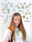 Student math symbols overhead — Stock Photo