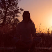 Silhouette of a beautiful Yoga woman — Stock Photo