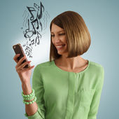 Woman listening music smartphone — Stock Photo