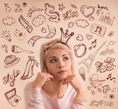 Woman thinking wishes — Stock Photo