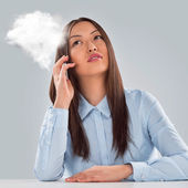 Business woman hot line — Stock Photo