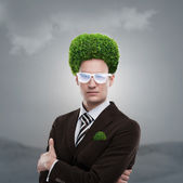 Man greenery head loving nature care ecology — Photo