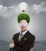 Man greenery head loving nature care ecology — Foto Stock