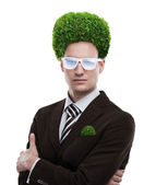 Man greenery head loving nature care ecology — Stok fotoğraf