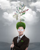 Man tree green hair — Stock Photo