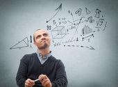 Thinking man formulas — Stock Photo