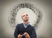 Businessman thinking business icons  — Stock Photo