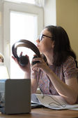 Woman working home — Stock Photo