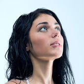 Water stopped while young woman was showering. Plumbing damage — Stock Photo
